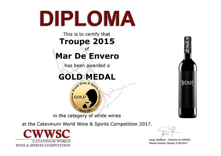 Los albariños Mar de Envero y Troupe, Medallas de Oro en la Catavinum World Wine & Spirit Competition 2017