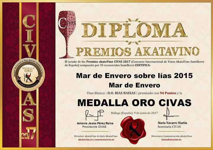 Los albariños Mar de Envero y Troupe reciben la Medalla de Oro en los Premios AkataVino CIVAS 2017