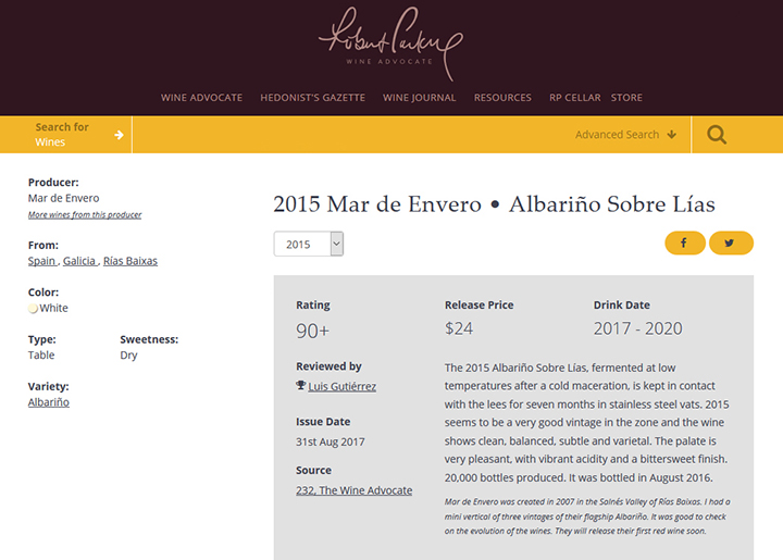 Robert Parker - The Wine Advocate: Mar de Envero albariño elaborado sobre lías Rías Baixas