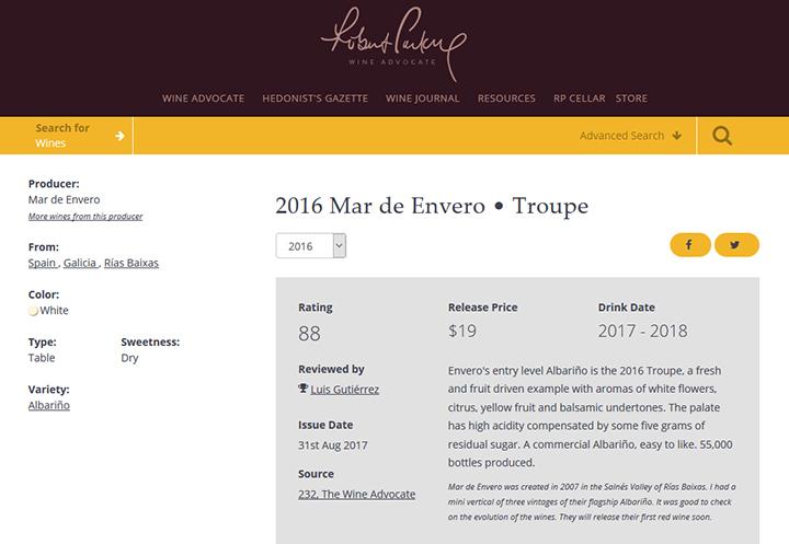 Robert Parker - The Wine Advocate: Troupe albariño Rías Baixas