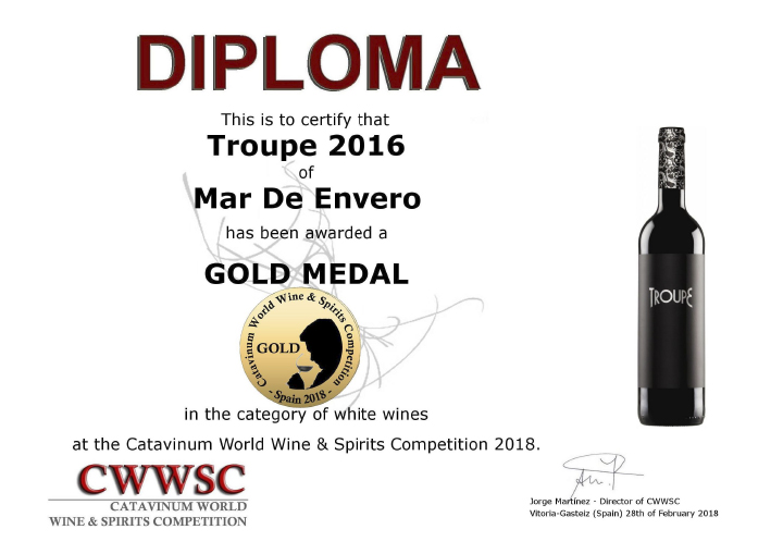 Los albariños Mar de Envero y Troupe, Medallas de Oro en la Catavinum World Wine & Spirit Competition